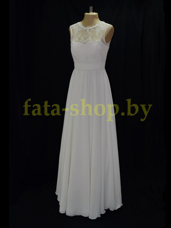 Непышное шифоновое свадебное платье P101