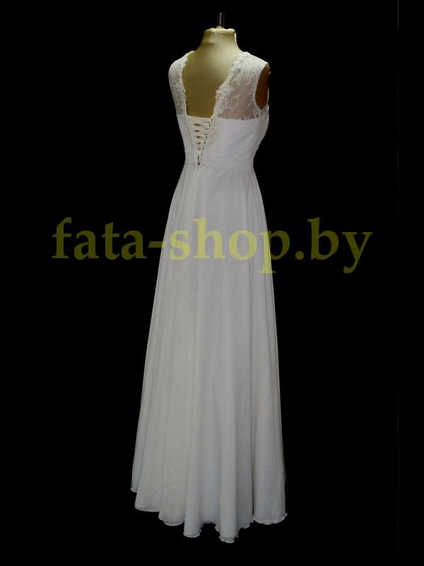 Непышное шифонове свадебное вечернее платье